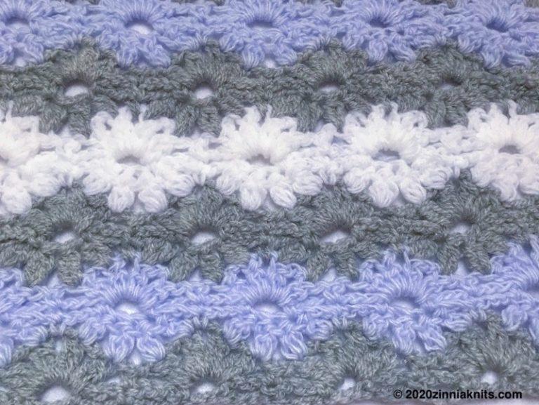 ダイソーの毛糸でかぎ針編みのベビーブランケット「Petal Stitch Baby Blanket」を試し編み。